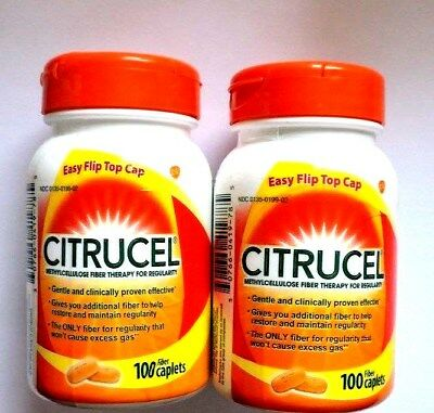 CITRUCEL Methylcellulose Fiber Therapy for Regularity2x100caps exp.Mar-May 2019