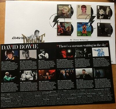 OFFICIAL DAVID BOWIE Royal Mail GB FIRST DAY COVER Stamps London 1st Day SW9