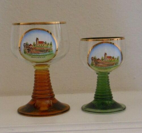 2 Vintage ROEMER WINE GLASSES with Gold Trim PLOCHINGEN Germany