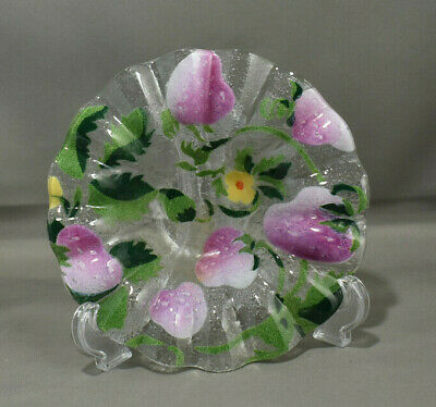 Fused Glass STRAWBERRY Ruffled Bowl Art Glass with Flower Bubbles Bullicante