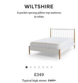 Mattress Wiltshire 1000 Pocket Pillow Top Double Mattress, White