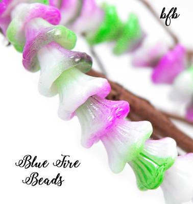 BFB-Premium Czech Pressed Glass 7/5mm Bell Flower Beads   *SPRING TULIPS* Czech Pressed Glass Beads