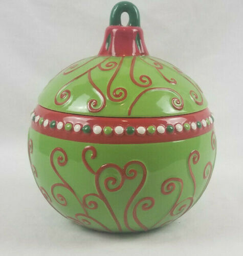 Real Home Ceramic Green Red Round Ornament Shaped Christmas Holiday Cookie Jar