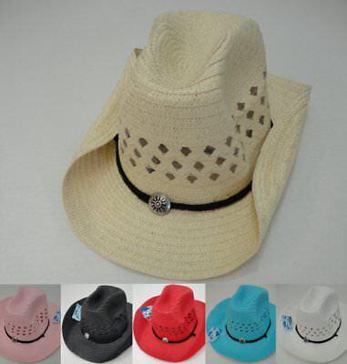 Bulk 120pc Colored Straw MESH Cowboy Cowgirl Western Hat w Chin Straps