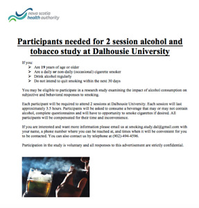 Participants needed for two session alcohol and tobacco study