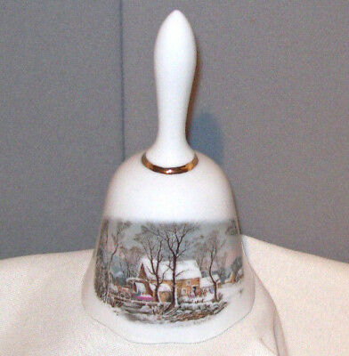 "AVON 1978 WINTER COTTAGE Representative 5"" Porcelain Bell made in Japan"