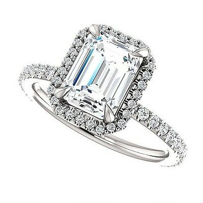 2.10 Ct Natural Emerald Cut Halo w/ Bow Diamond Engagement Ring F/VS2 GIA 14kwg 1