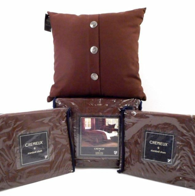 CREMIEUX BROWN QUEEN DUVET COVER SET 4pc PILLOW Classic Twill SOLID NEW