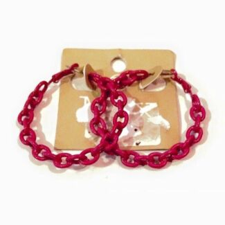BRAND NEW Large Pink Chain Hoop Earrings Punk Rock Exc Cond