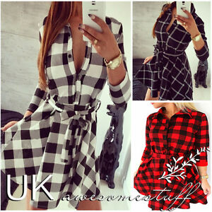 UK-Womens-Plaid-Romper-Skirt-Dress-Ladies-Party-Mini-Shirt-Dress-Size-6-14