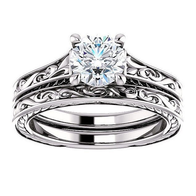 0.50 Ct Round Cut Solitaire Diamond Filigree Engagement Ring Set F,SI1 GIA 3