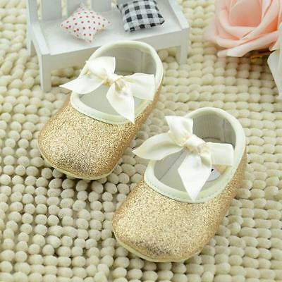 Toddler Baby Girls Glitter Bow Crib Shoes Newborn Prewalker Soft Sole Sneakers