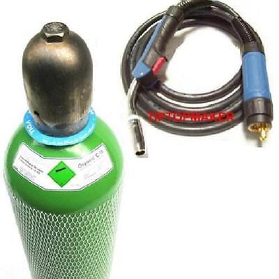 10 Ltr Mischgas 82/18 Schutzgas Gasflasche + Schweißbrenner 3 Meter MB25 Brenner - Flasche Brenner