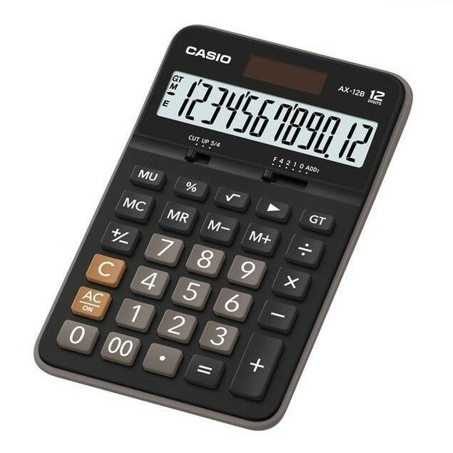 Casio AX-12B 12 Digit EXTRA LARGE LCD Calculator Plastic Keys MARK-UP % BLACK