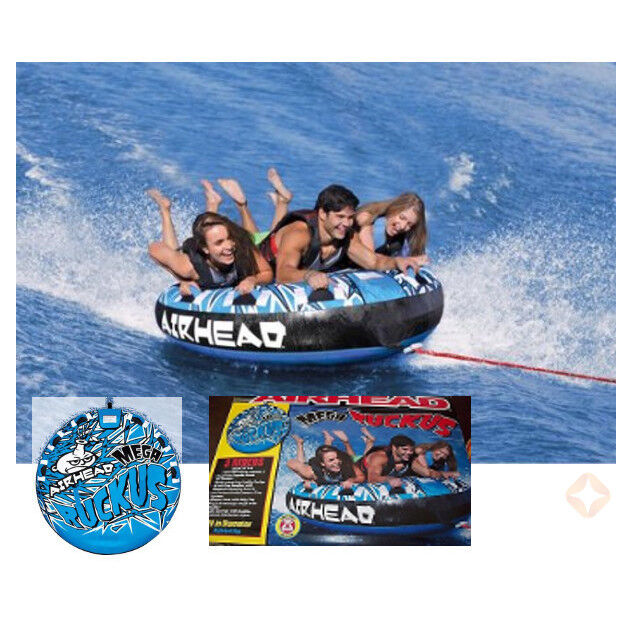 Inflatable Water Towable Tube Airhead 3 Rider Person Sportsstuff Deck Boat Lake