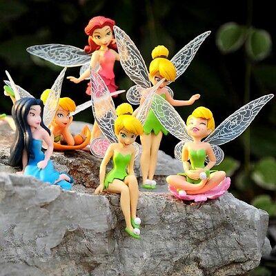 6 PCS Disney Princess Tinkerbell Fairy Action Figure Wing Fairies Cake Topper Disney Princess Cake Topper