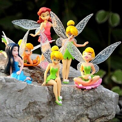 6 PCS Disney Princess Tinkerbell Fairy Action Figure Wing Fa
