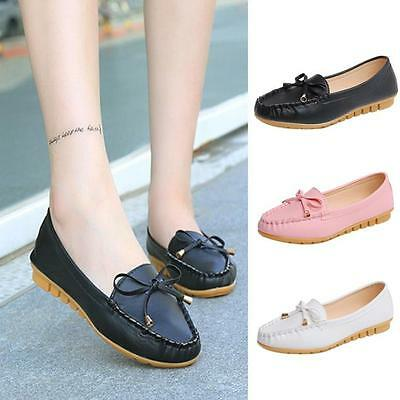 Fashion Women Pumps Leather Flats Shoes Slip On Comfort Bowknot Loafers Shoes