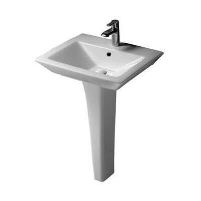 Barclay Opulence Pedestal Sink, Rectangular Bowl, 1-Hole Faucet, White Finish Barclay Lavatory Bowl