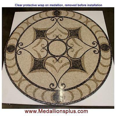 "36"" Round Floor Medallion non-polished mosaic tile medallions Inlay design"
