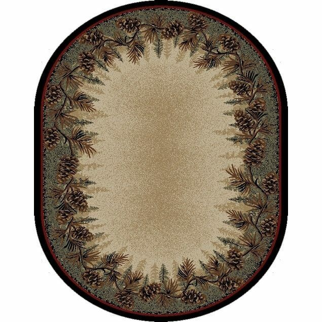 8x10  Oval Pinecone Lodge Cabin Forest Area Rug *FREE SHIPPI