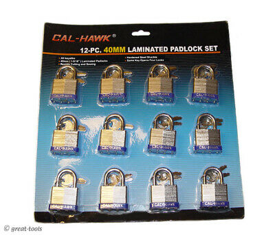 12-pc Padlock Set Laminated Locks Garage Shop Gate Lock Safety