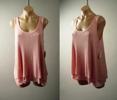 Pink Thermal Knit Prairie Mori Girl Basic Swing Cami Tank Top 281 mv Shirt S M L Basic Thermal Cami