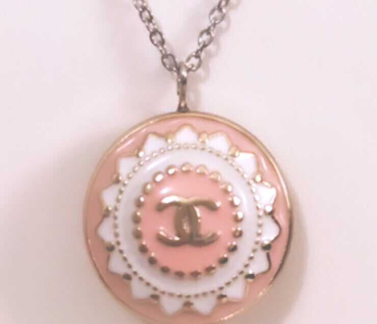Pink Chanel button 22mm Designer Buttons Into The Necklace Upcycled CC Stamped