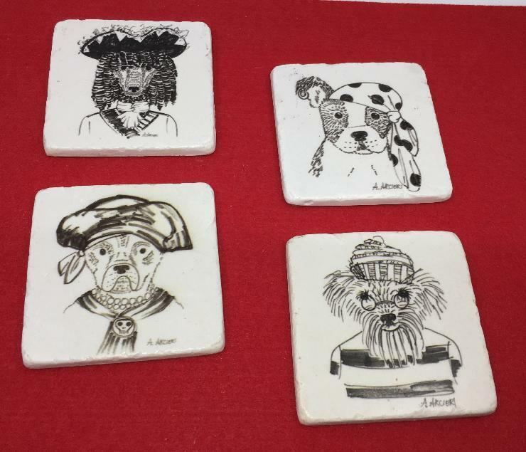 SET 4  PIRATE DOGS IN COSTUME DRINK COASTERS TILE  MCM  KITSCH TOO CUTE