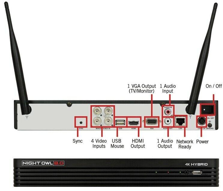 Night Owl 4 Channel Hybrid 4K Security DVR-H2T80B-41 H2THD 8.0 w/ 1TB HDD 🔥
