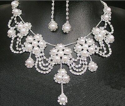 tten Strass Hochzeit Braut Schmuck Zirkon Perlen Ohrring a18 (Halskette Ketten)