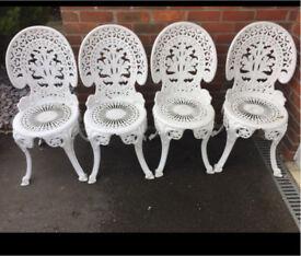 4 matching white bistro garden chairs