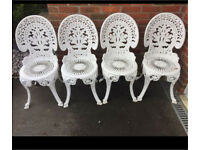 4 matching white bistro garden chairs