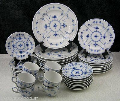 (40) Pc. Royal Copenhagen Blue Fluted Plain Porcelain Dinner Service for 8 1st Q