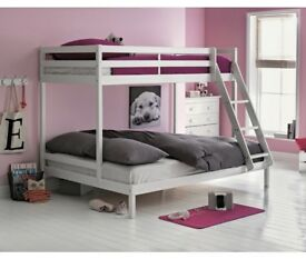 WHITE TRIPLE BUNK BED, MATTRESSES INCLUDED.