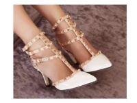 White studded heels size 38 (uk 5/5.5)