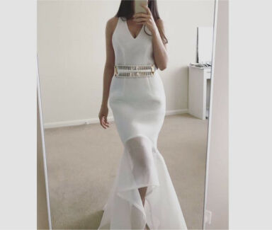 Elegant White Formal Evening Prom Dress
