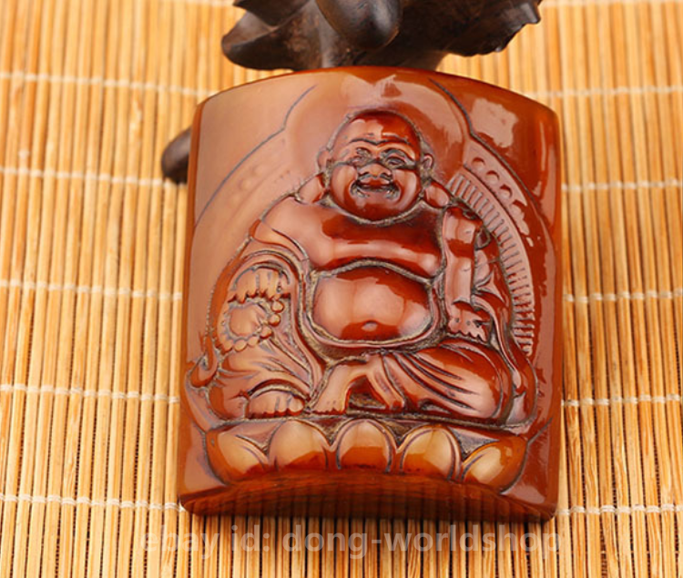 "2.8/"" Chinese Box-wood Hand-carved Maitreya Buddha Moneybag Small Statue Pendant"