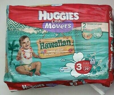 HUGGIES Hawaiian Limited Edition Diapers Size 3 HTF RARE *Missing 1 Diaper 28 CT