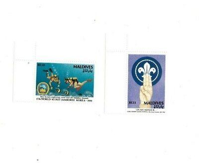 VINTAGE CLASSICS - MALDIVES SC# 1595-6 Boy Scout Jamboree Stamps - MNH