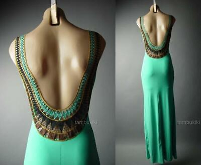 Jade Green Crochet Open Back Grecian Goddess Gown Long Maxi 296 mvp Dress S M L