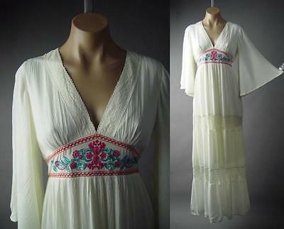 Ivory Embroidered Empire Waist Peasant Gown Caftan Long Maxi 196 mv Dress S M L