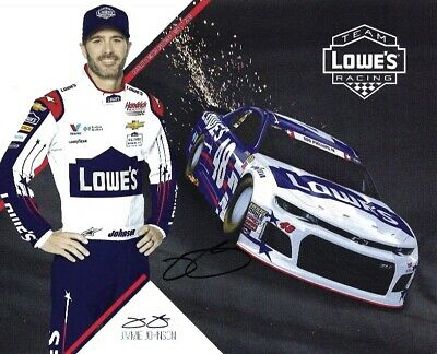 2018 Jimmie Johnson Lowes Military USA NASCAR Signed Auto 8x10 Post Hero Card
