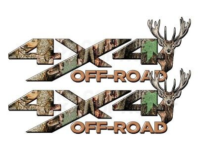 Camo 4 X 4 Decals (4x4 OFF ROAD Camouflage Real AP Camo Dear Head Decal Sticker! CHEVY FORD )