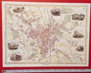 Old Antique colour map of Bradford, Yorkshire: 1800's, 1851: 12