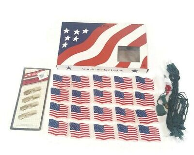 Vintage String of 20 American Flag Party Lights 4th of July Outdoor Decor NOS