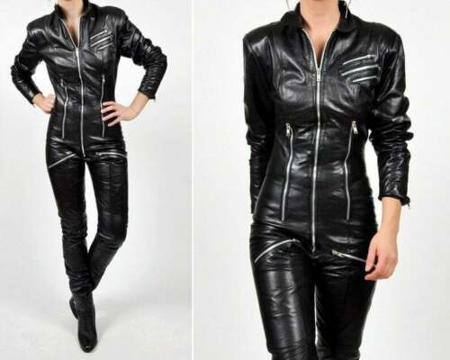 reserved - vintage black LEATHER ONE PIECE moto jumpsuit NEW-117