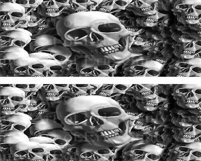 Scary Halloween Birthday Cakes (Scary Halloween Skulls ~ Edible 2D Fondant Cake 2 Strip Side Topper ~ D22387)