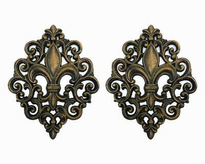 TWO, Cast Iron, Fleur De Lis, Wall Plaque, Metal Art, Old World, Tuscan, -