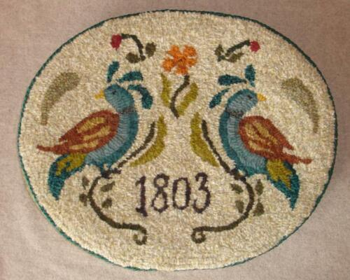 """L Birds of a Feather linen Rug Hooking Pattern - Two Old Crows - Linen 12"""" x 15"""""""
